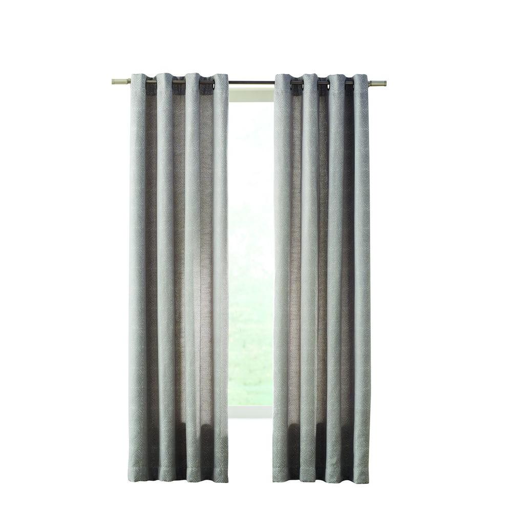 Home Decorators Collection Semi Opaque Gray Geo Tilework Grommet Curtain 50 In W X 108 In L