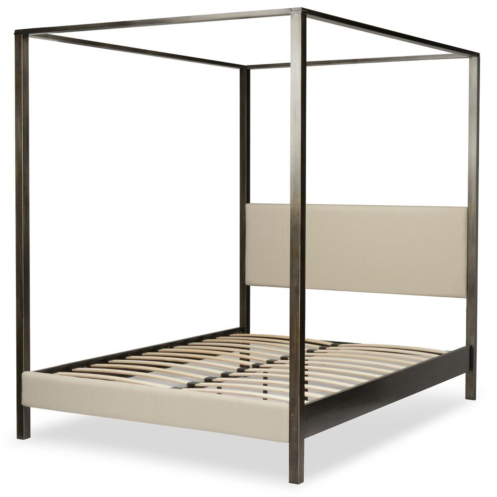 Fashion Slate California King Canopy Platform Bed Upholstered Product Picture