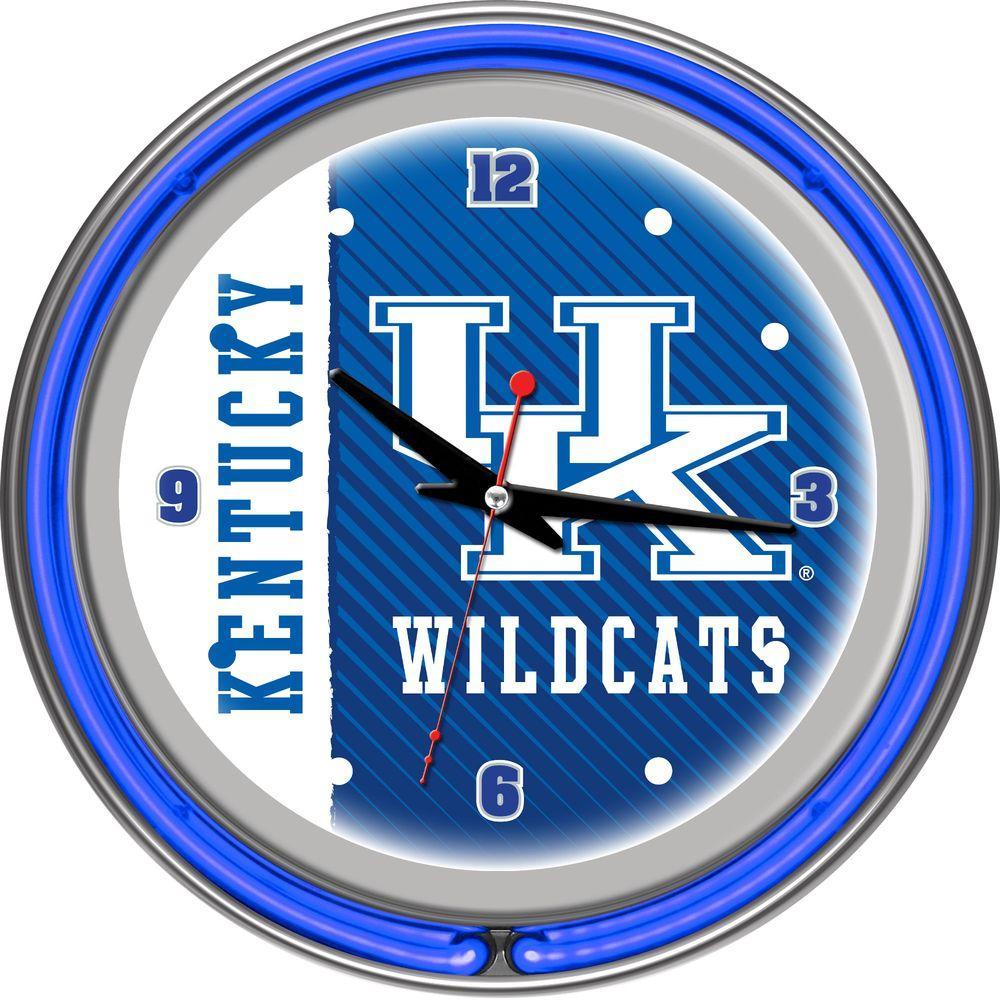 Text Trademark Gameroom University of Kentucky Chrome Double Rung Neon Clock