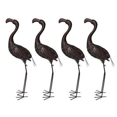 40 in. Steel Indoor/Outdoor Animal Garden Flamingo Metal Sculpture Statue with Solar Light (4-Pack)