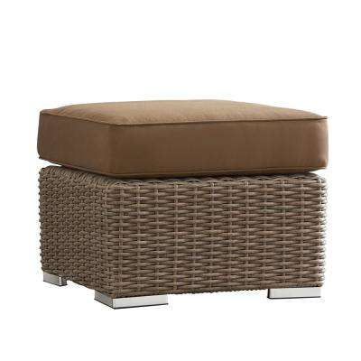 Camari Mocha Wicker Outdoor Ottoman with Brown Cushion