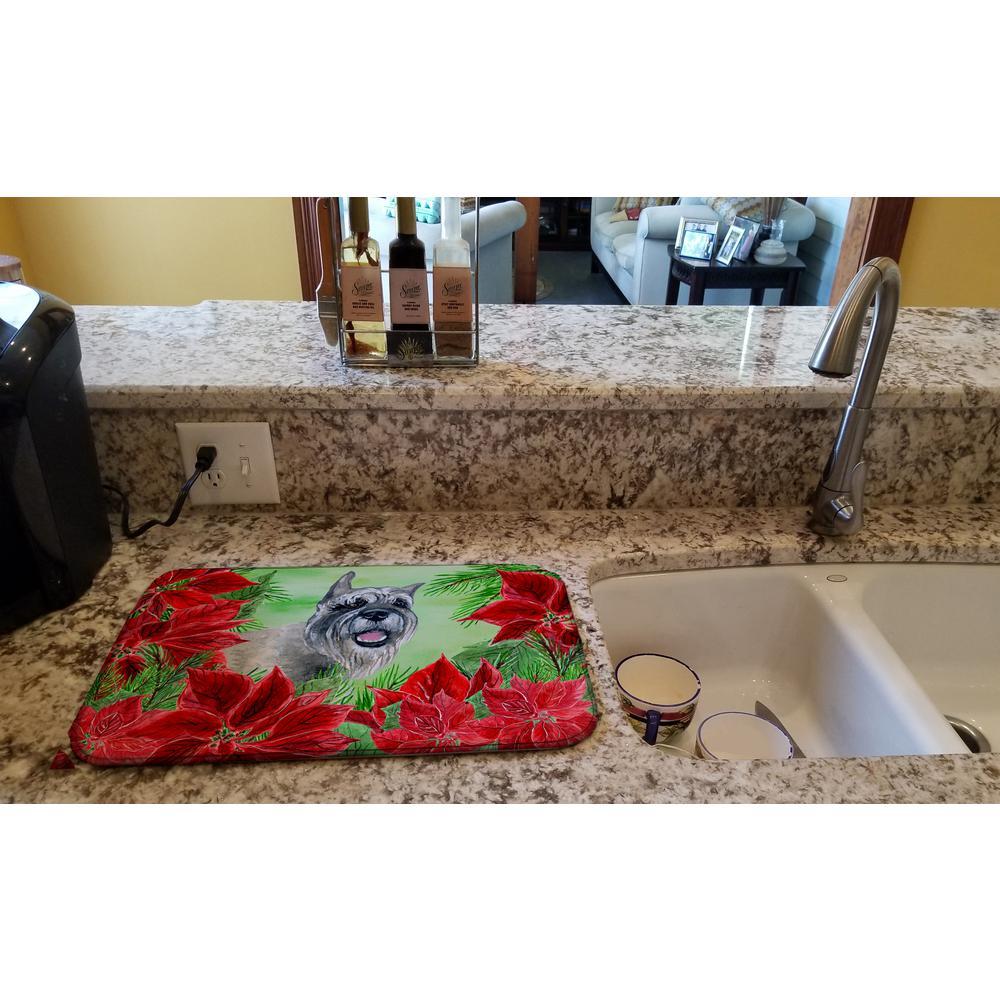 14 in. x 21 in. Multicolor Schnauzer Poinsettias Dish Drying Mat
