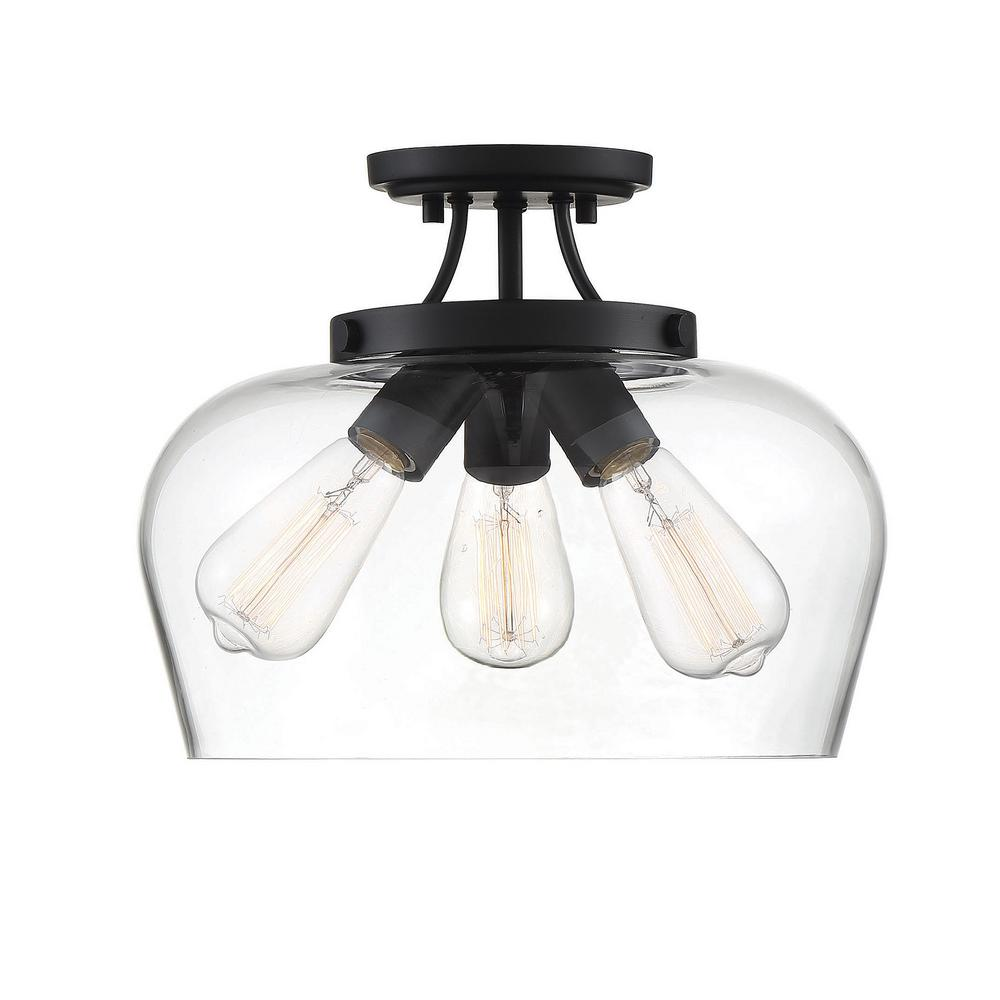 Filament Design 13 in. 3-Light Black Semi-Flush Mount with Clear Glass