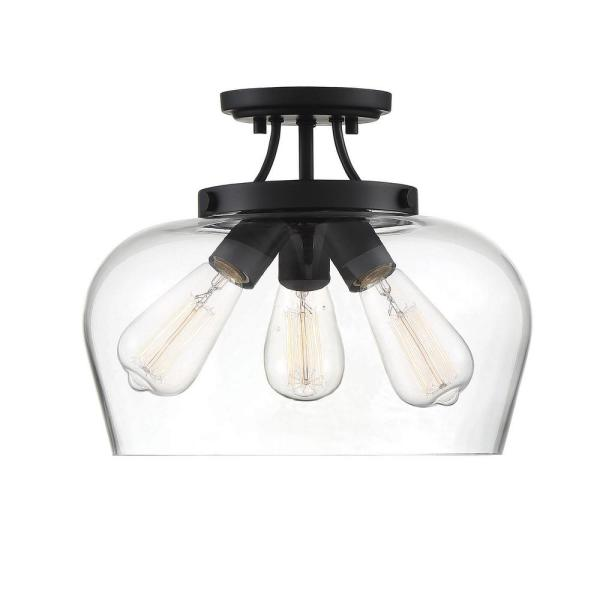 13 in. 3-Light Black Semi-Flush Mount with Clear Glass