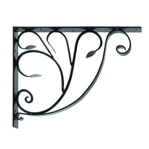 18 in. Tall Black Powder Coat Iron Elegant Detailed Leafy Leaf Mail Box Bracket