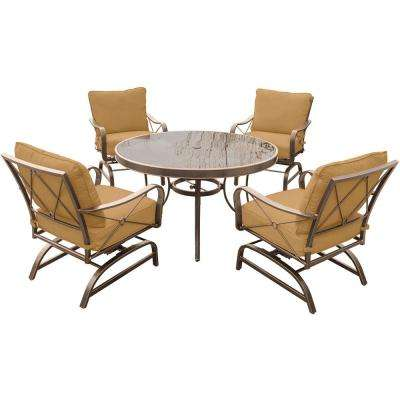 Summer Nights 5-Piece Outdoor Dining Set with Round Glass-Top Table and Aluminum Rockers with Desert Sunset Cushions