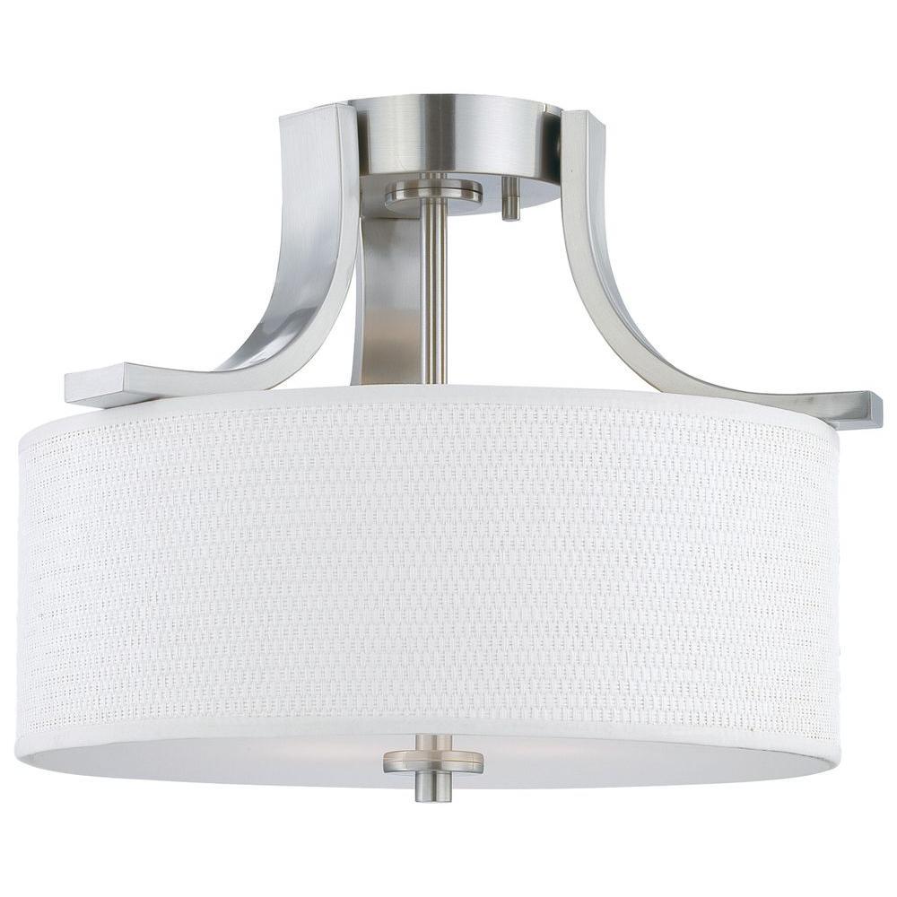 Pendenza 2-Light Brushed Nickel Ceiling Flushmount