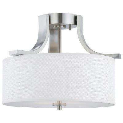 Pendenza 2-Light Brushed Nickel Ceiling Flushmount