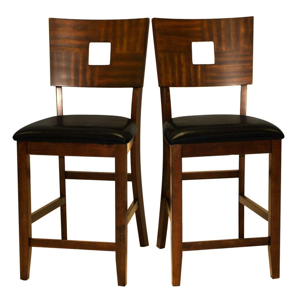 Home Decorators Collection 24 in. H Dark Brown Faux Leather Counter Height Chairs (Set of 2) - DISCONTINUED
