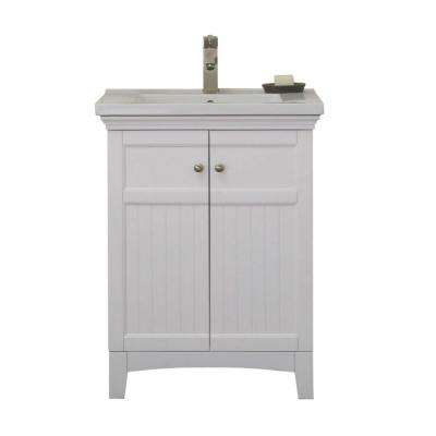 24 in. Vanity in White with 1.5 in. Porcelain Vanity Top in White with White Basin - WLF7016-W