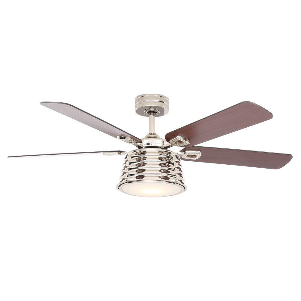 Hampton Bay Wollaston 52 in. LED Indoor Polished Nickel Ceiling Fan  with Light Kit and Remote Control