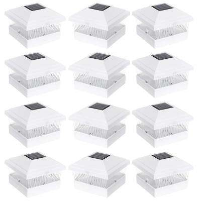 5 in. x 5 in. Solar Powered Outdoor White Integrated LED PVC Post Light (12-Pack)