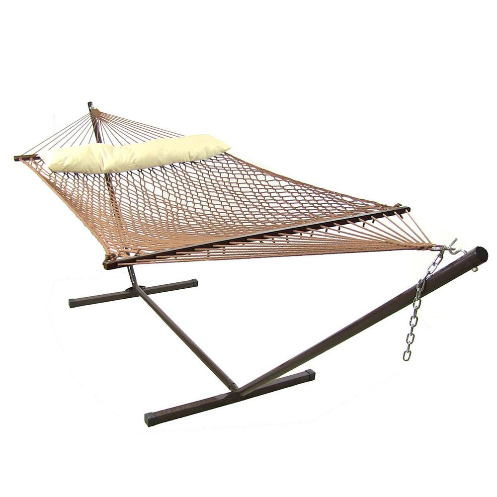 Sunnydaze Decor 15 ft. Rope Hammock with Hammock Stand in Brown