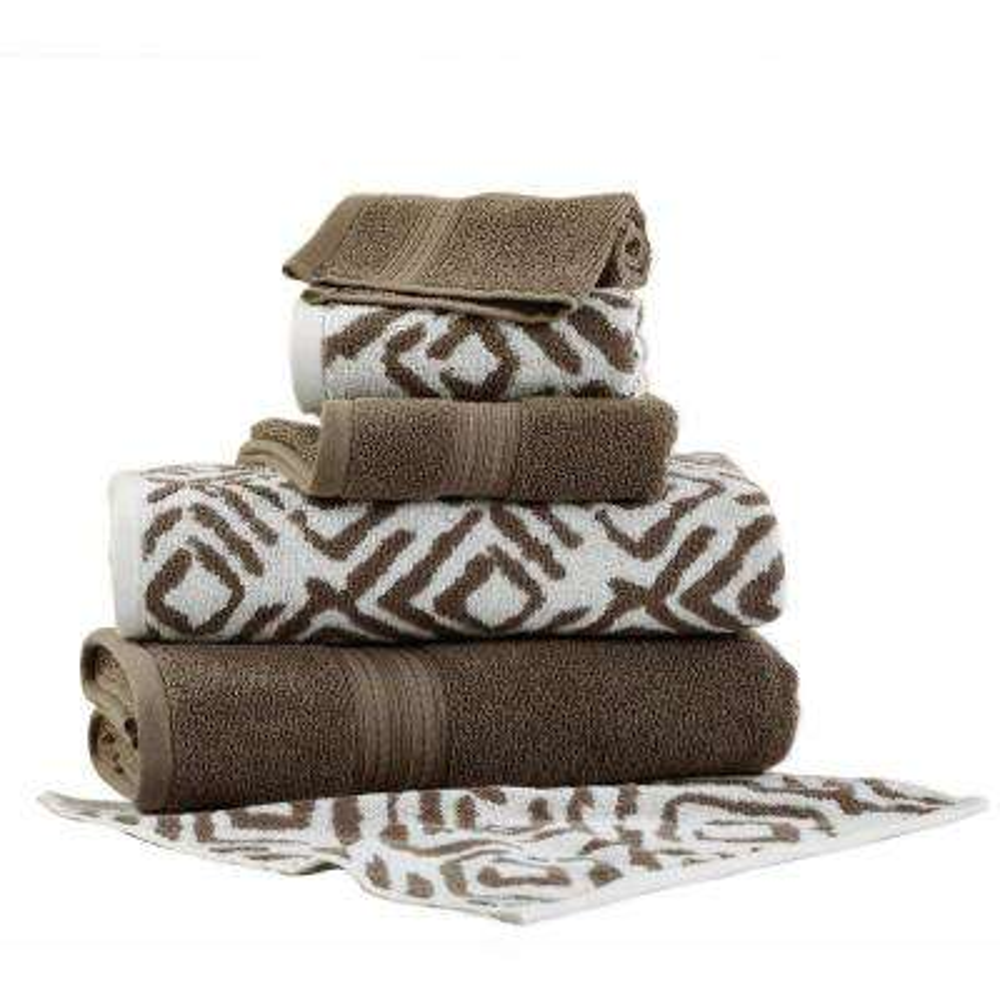 Ikat Diamond 6-Piece Cotton Bath Towel Set in Mocha