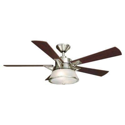 Marlowe 52 in. LED Indoor Brushed Nickel Ceiling Fan with Light Kit and Remote Control
