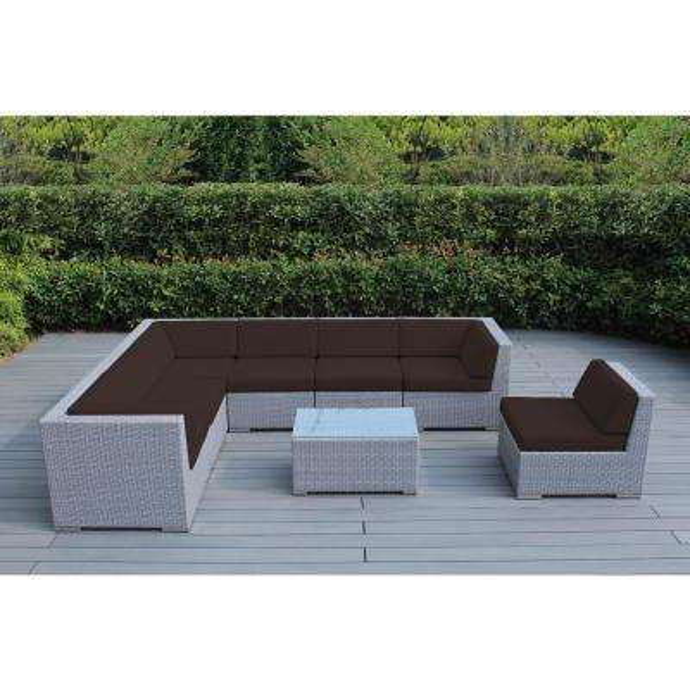Ohana Gray 8-Piece Wicker Patio Seating Set with Spuncrylic Brown Cushions