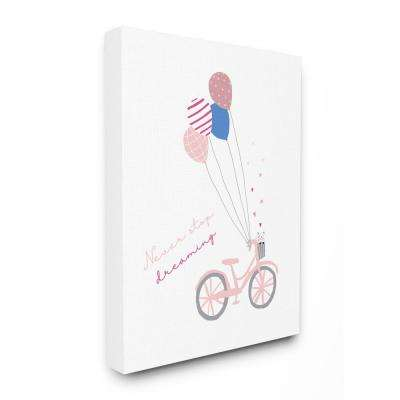 "30 in. x 40 in. ""Never Stop Dreaming Pastel Pink Bicycle with Patterned Balloons"" by Girl Gang Canvas Wall Art"