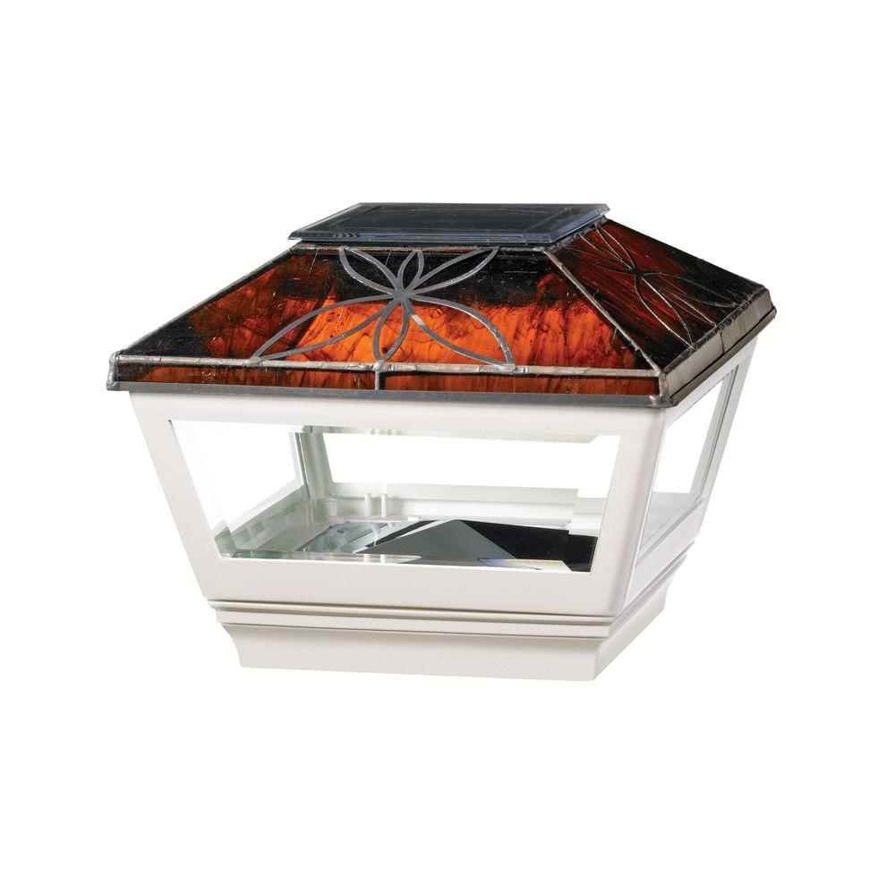 4 in. x 4 in. Vinyl Solar Light Chestnut Top Pyramid