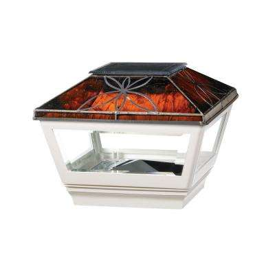 4 in. x 4 in. Vinyl Solar Light Chestnut Top Pyramid Post Cap with White Base