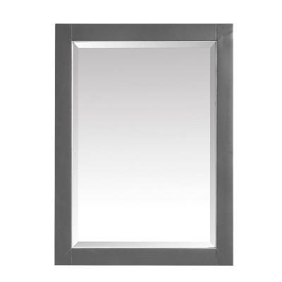 Allie 24 in. x 32 in. Framed Wall Mirror in Twilight Gray with Brushed Silver Trim