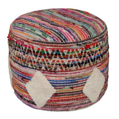 Southwest Bohemian 18 in. x 14 in. Multi-Color Ottoman Pouf