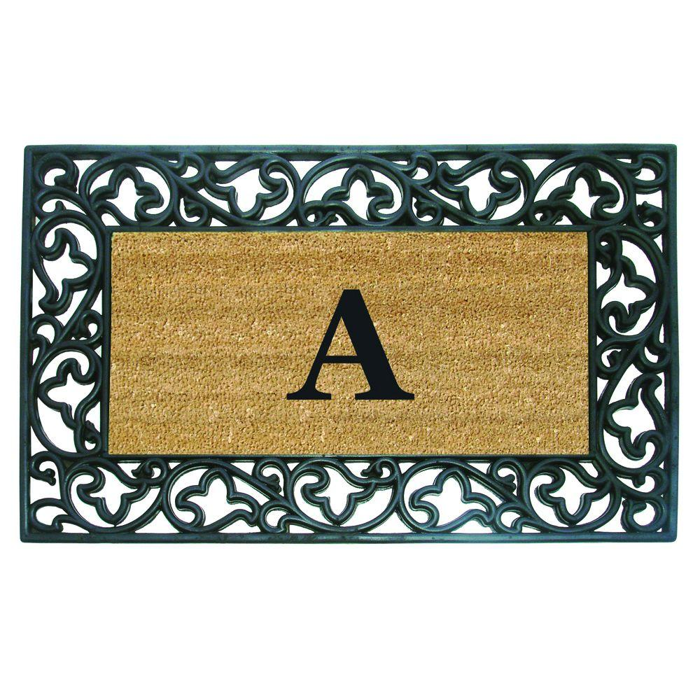 Acanthus Border 22 in. x 36 in. Rubber Coir Monogrammed A