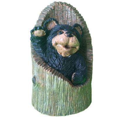 12 in. Bear in Stump Home and Garden Statue