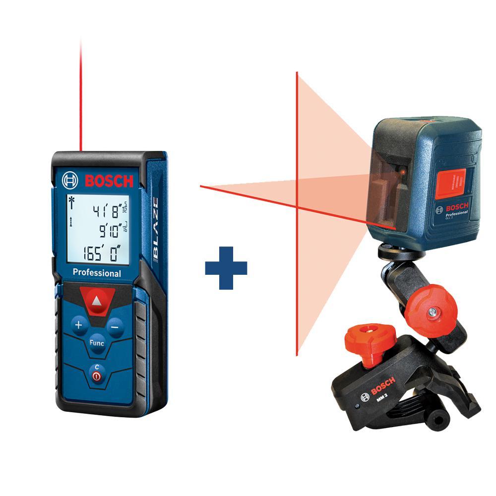 165 ft. Laser Measurer with Bonus 30 ft. Cross Line Laser Level with Clamping Mount