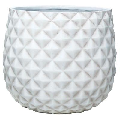 Pineapple 12 in. x 10.5 Weathered White Resin Composite Planter