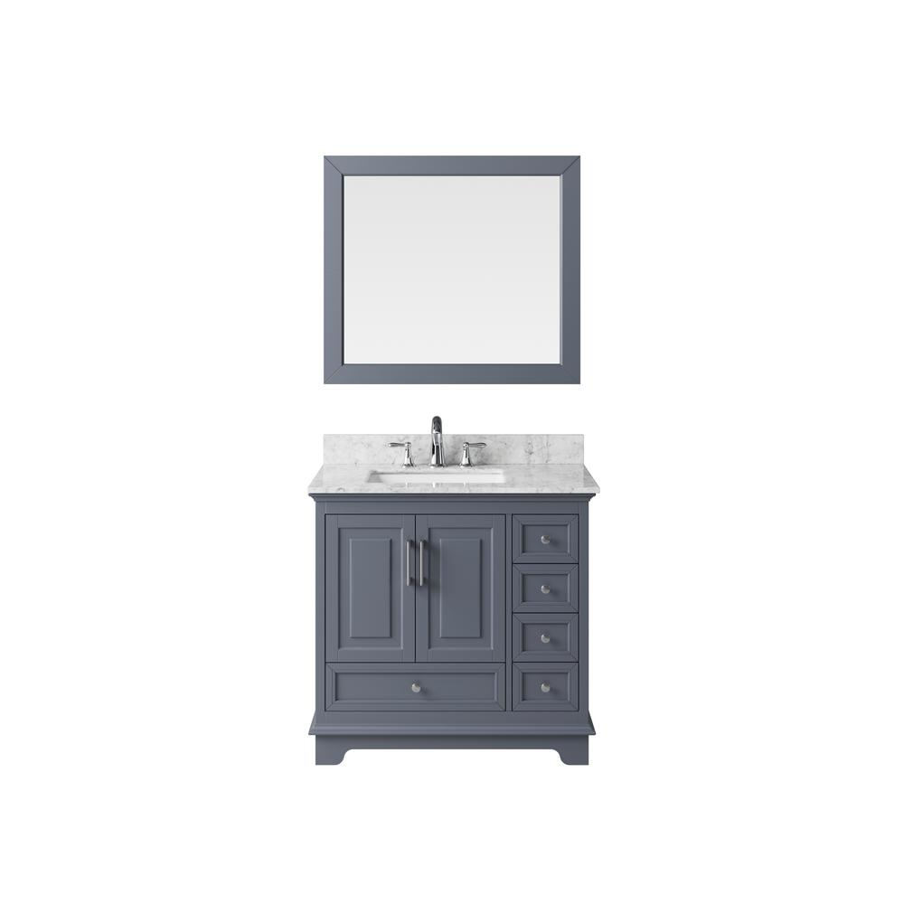 Exclusive Heritage Vanity Cashmere Grey Marble Vanity Top White Basin Mirror