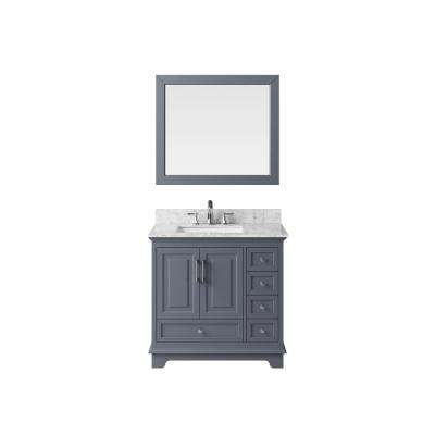 36 in. Bath Vanity in Cashmere Grey with Marble Vanity Top in Carrara White with White Basin and Mirror