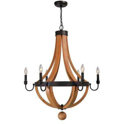 Taylor Collection 6-Light Rust/Wood Indoor Chandelier