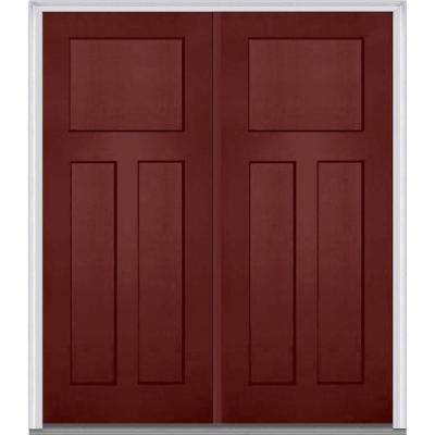 64 in. x 80 in. Classic Left-Hand Inswing Craftsman 3-Panel Painted Fiberglass Smooth Prehung Front Door with Brickmould