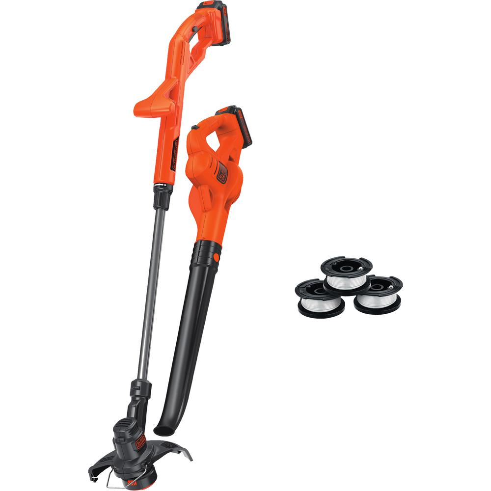 BLACK+DECKER 20V MAX Cordless String Trimmer/Sweeper Combo Kit (2-Tool) w/ Batteries, Charger and 3 Bonus AFS Spools Included