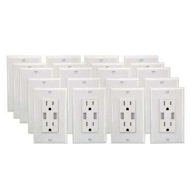 15 Amp 125-Volt Tamper Resistant Combination Duplex Receptacle and Smart Chip USB Charger, White (20-Pack)