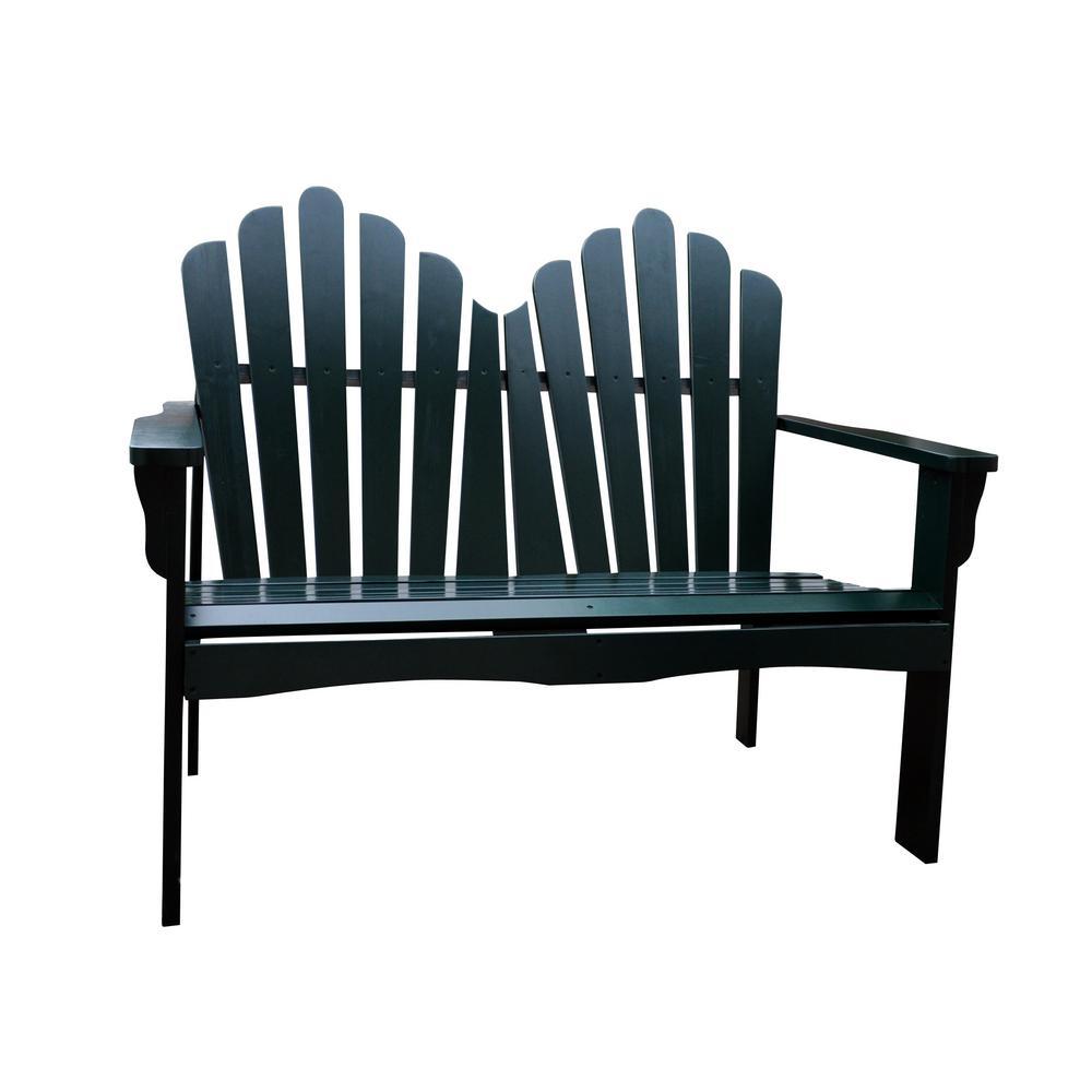Westport Cedar Wood Outdoor Loveseat Bench 43.50 in. - Dark Green