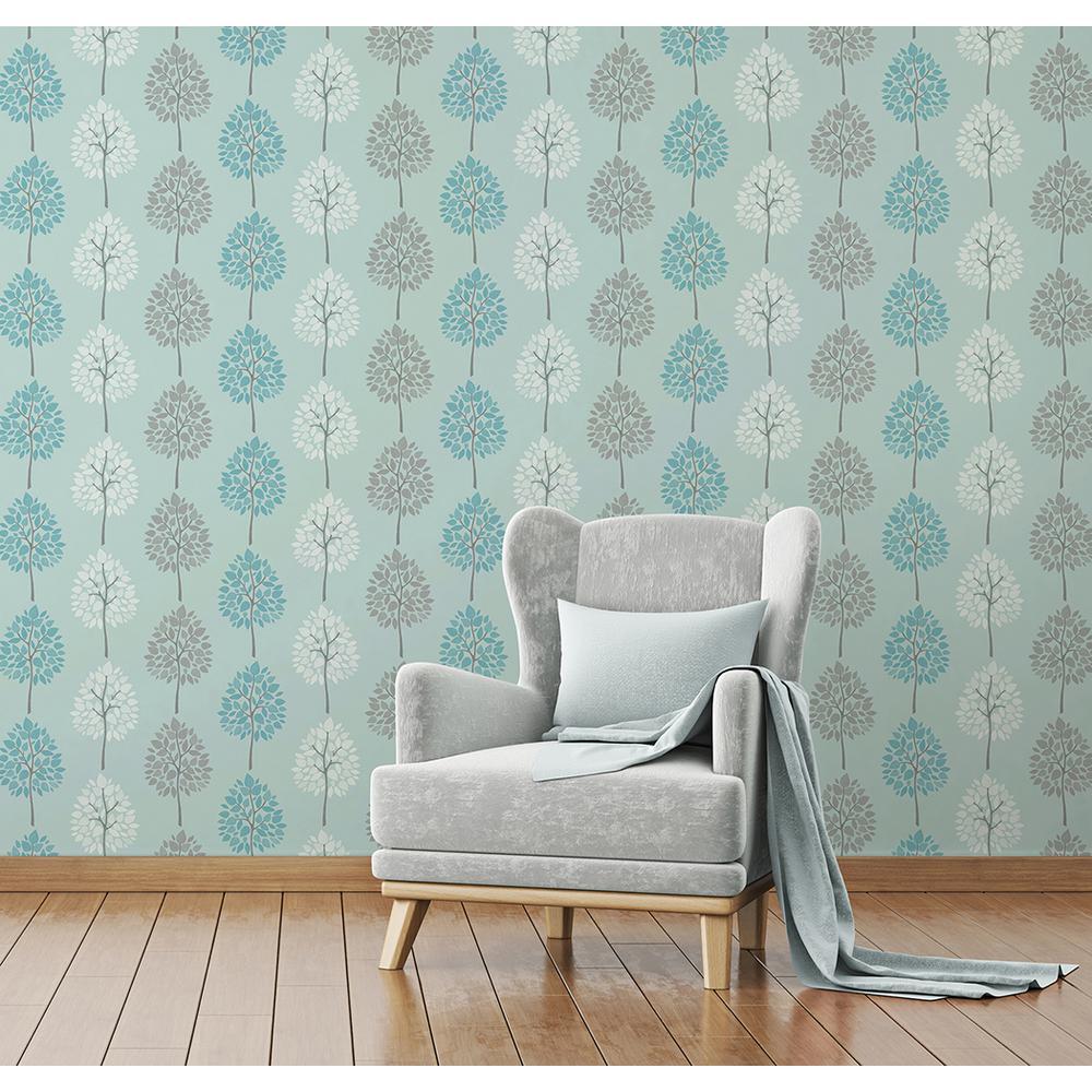 56.4 sq. ft. Alder Blue Tree Wallpaper by