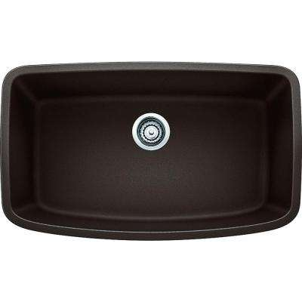 VALEA Undermount Granite Composite 32 in. Super Single Bowl Kitchen Sink in Cafe Brown