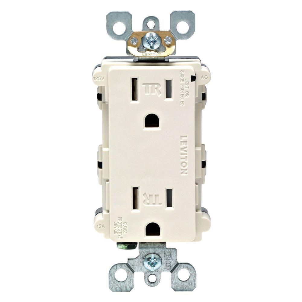 Decora 15 Amp Tamper-Resistant Duplex Surge Outlet with Indicator Light, Light Almond