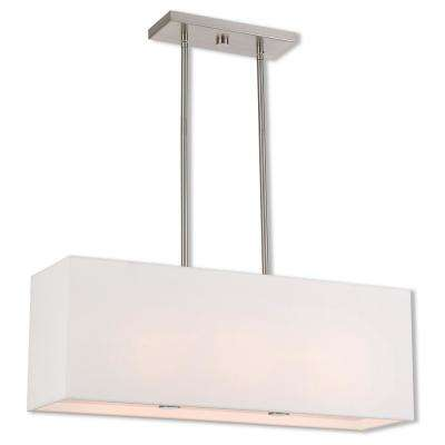 Summit 3-Light Brushed Nickel Linear Chandelier with Off White Outside and White Inside Hardback Shade