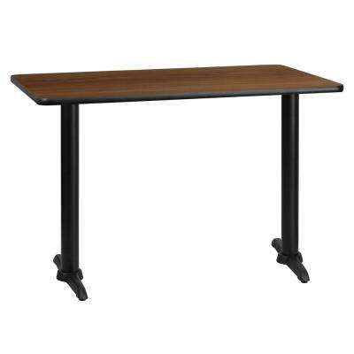 30 in. x 45 in. Rectangular Walnut Laminate Table Top with 5 in. x 22 in. Table Height Bases