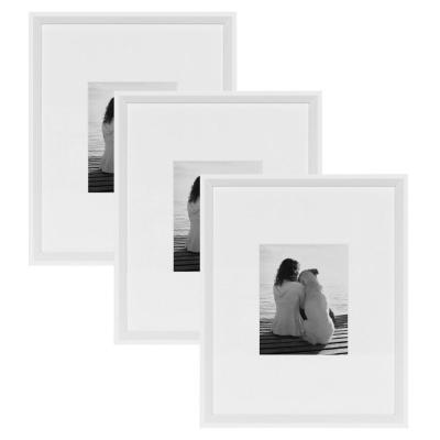 Calter 16 in. x 20 in. Matted to 8 in. x 10 in. White Picture Frame (Set of 3)