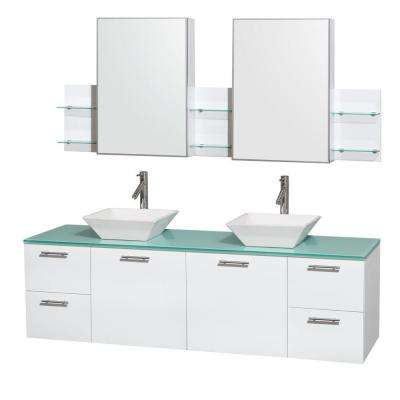 Amare 71 in.W Double Bath Vanity Cabinet in Glossy White with Glass Vanity Top in Green with White Basin and Mirror