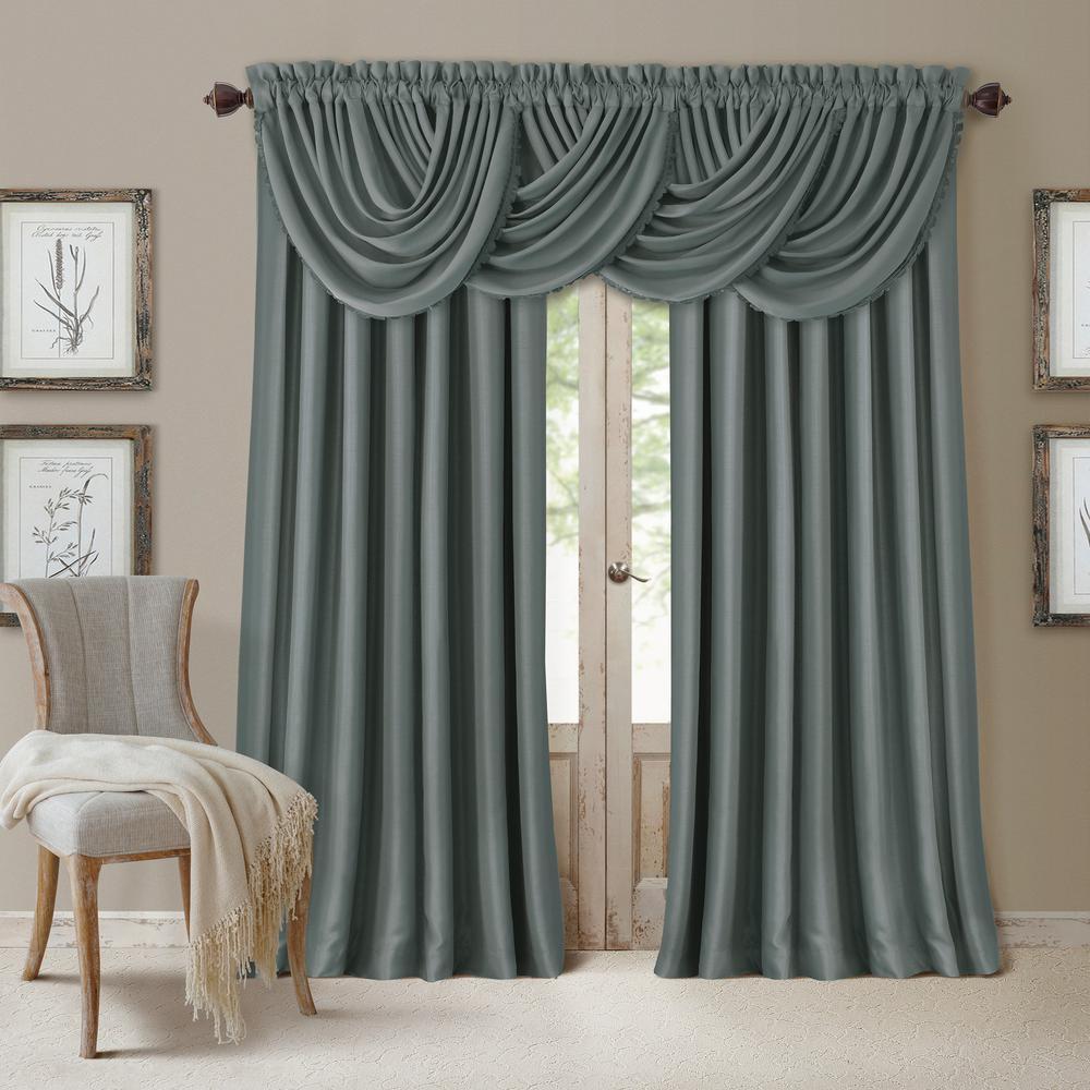 Blackout All Seasons 52 in. W x 108 in. L, Single Panel Blackout Rod Pocket Window Curtain Drape Regal Solid, Dusty Blue