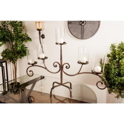 Litton Lane Black Scrollwork Design 5-Light Iron Candle Holder with Clear Glass Shade