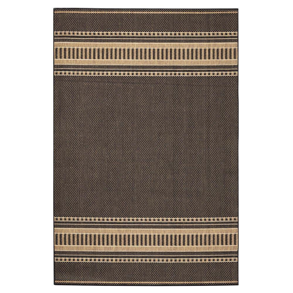 Home Decorators Collection Pueblo Design Black/Cocoa 5 ft. 9 in. x 9 ft. 2 in. Area Rug
