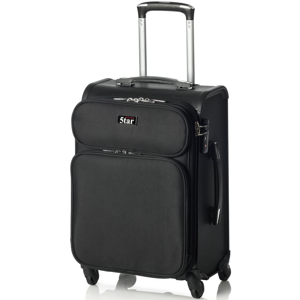 5tar 20 In Jet Black Hybrid Cabin Luggage Hp 1067tbl The Home Depot