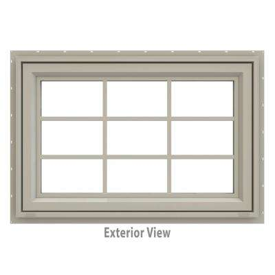 35.5 in. x 29.5 in. V-4500 Series Desert Sand Vinyl Awning Window with Colonial Grids/Grilles