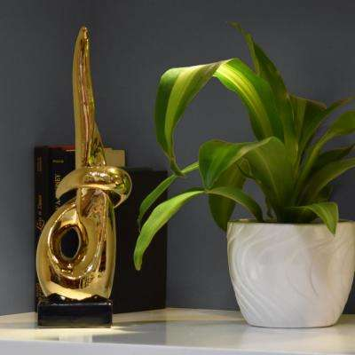 16 in. H Abstract Decorative Sculpture in Gold Polished Chrome Finish