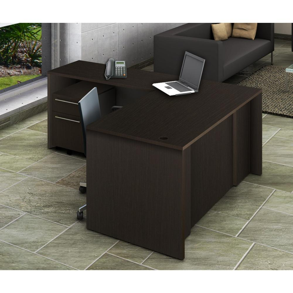 2-Piece Espresso Office Reception Desk Collaboration Center